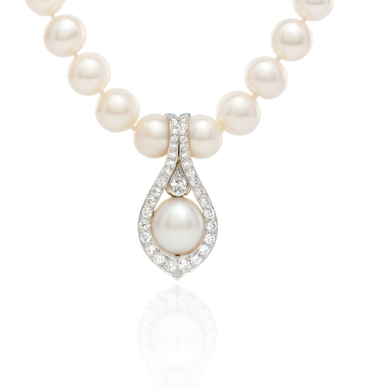 Pearl jewellery mjs jewellery james st fortitude valley australian white south sea pearl diamond pearl enhancer handcrafted in 18ct white yellow gold aloadofball Image collections